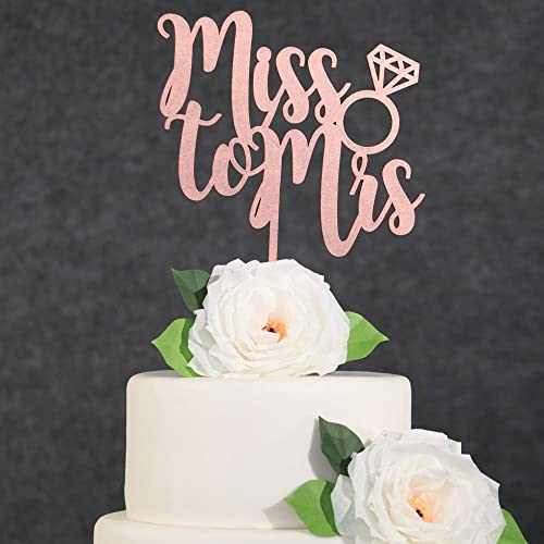 Amazon Com Wedding Cake Toppers Rose Gold Miss To Mrs Cake Topper