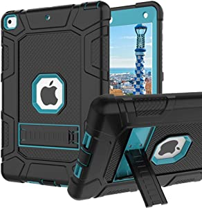 iPad 6th Generation Cases, iPad 2018 Case, iPad 9.7 Inch Case,Hybrid Shockproof Rugged Drop Protection Cover Built with Kickstand for New iPad 9.7 inch A1893/A1954/A1822,/A1823 (Teal Blue)