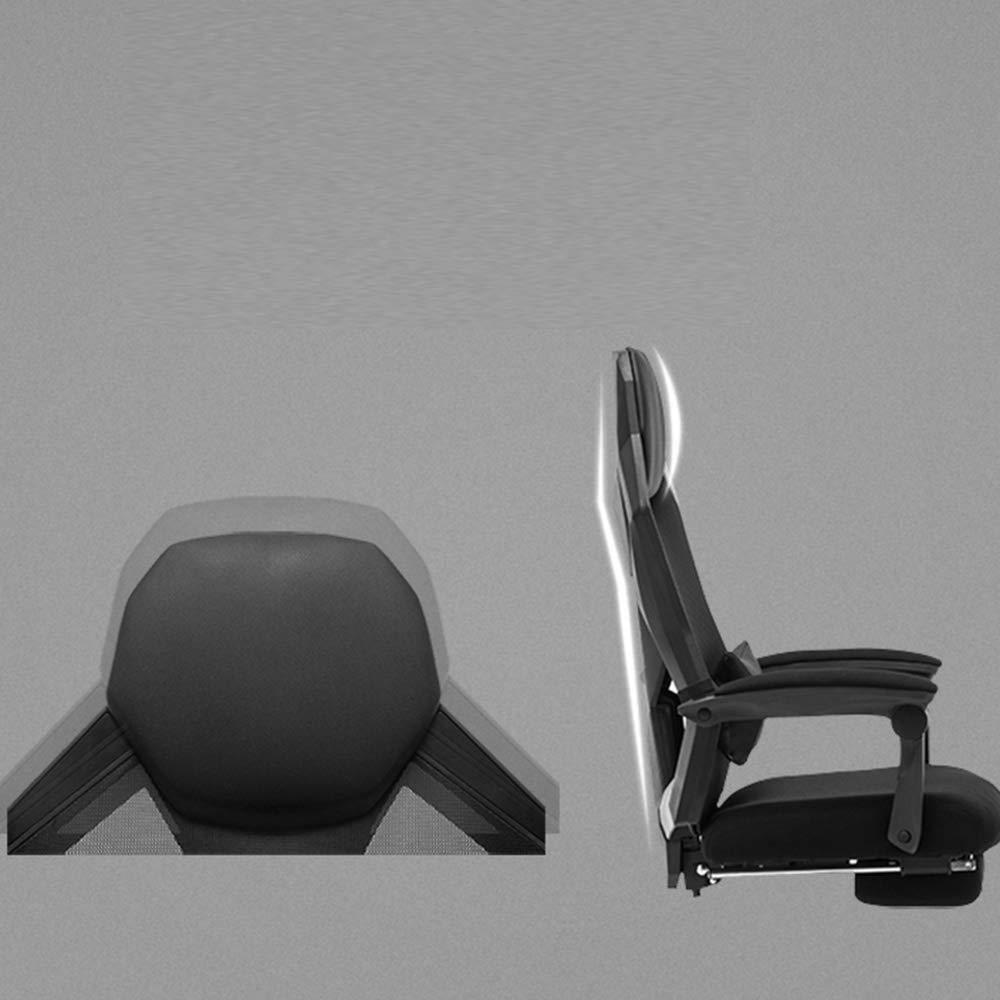 THBEIBEI Swivel kontorsstol spelstol datorstol hem spelstol hög rygg svamp huvudkudde avtagbar midja dyna bärkapacitet 300 kg 2 färger (färg: grå) Svart
