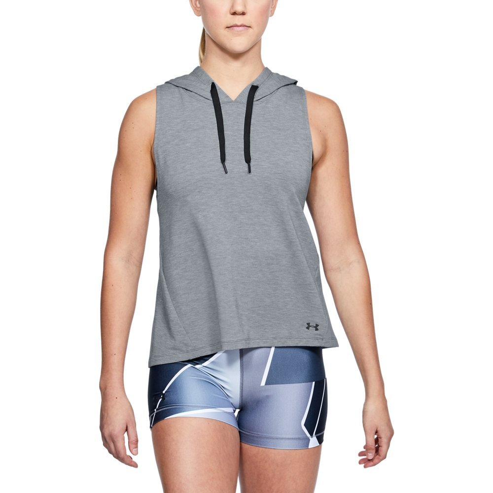 Under Armour Women's Modal Terry Vest, Steel Fade Heather /Tonal, Small by Under Armour