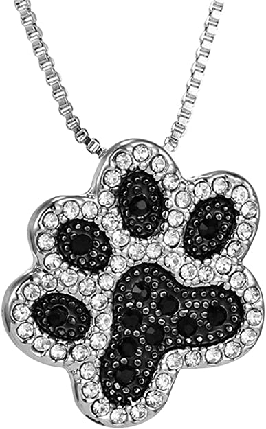 chat. chien pendentif motif patte d/'animal argenté Collier