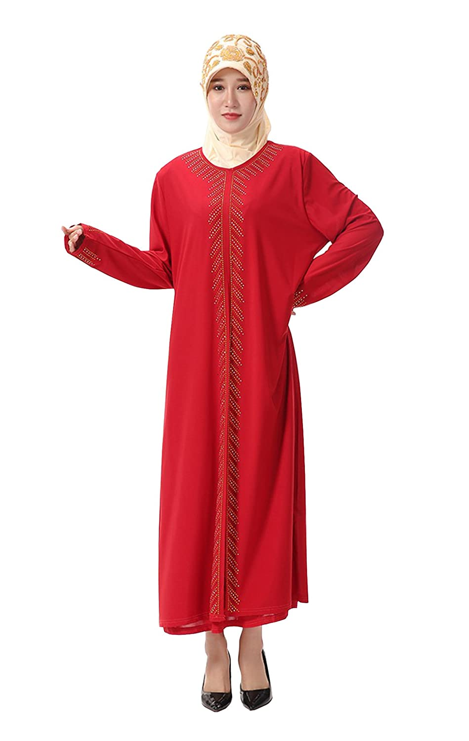 GladThink Women's Muslim Robe Long Sleeves Islamic Round Neck Dress