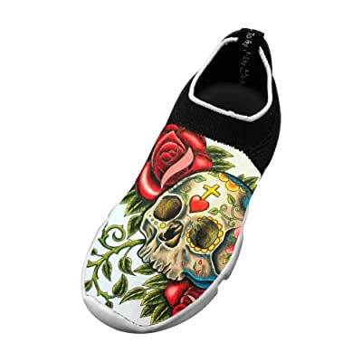 5db1ab4e18f MREIO Flower Skull Children s 3D Print Fly Knit Shoes Breathable Casual  Loafers Sneakers For Boys
