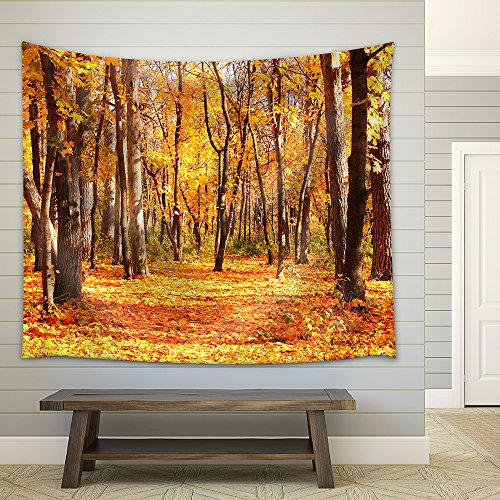 Beautiful Landscape Road in Autumn Forest Fabric Wall Tapestry