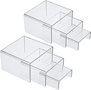 NIUBEE Acrylic Display Risers Stand 2 Sets,3 Steps Clear Riser Shelf Showcase for Amiibo Funko POP Figures -3