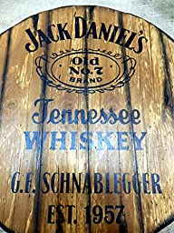 Jack Daniels personalized decorative sign - whiskey barrel top | Handpainted liquor artwork and your message on a distressed wood plaque | Customized Gift | Rustic wall decor