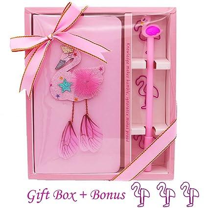 Sgift Flamingo Gifts For Girls Women Journal Notebook Pen Set
