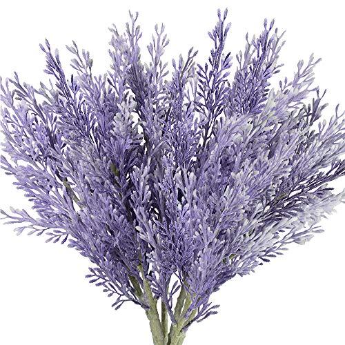 "Supla 6 Pcs Artificial Santolina Stems in Lavender Flocked Santolina Chamaecyparissus Spray Faux Santolina Twigs Sprigs Lavender Cotton Santolina Plants 15"" x 4.7"" for Wedding Centerpiece Wreath Decor"