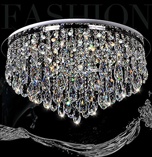 7PM H12″ x W24″ Luxury Modern Round Rain Drop Clear K9 Crystal Ceiling Light Lamp Modern contemporary Chandelier Lighting Fixture for Bathroom Foyer Entry