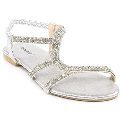 Ladies Flat Sandals Womens Fancy Ankle Strap Party Dress Beach Shoes Size 3-8