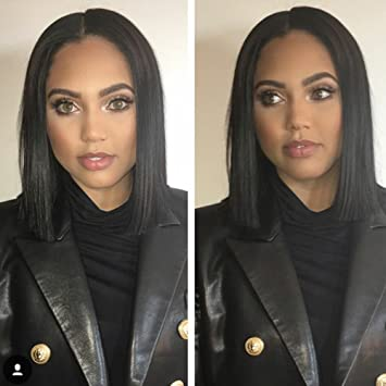 Amazon.com   1b  Black Human Hair Short Bob Lace Front Wigs For Black Women  Blunt Cut Straight Full Lace Wig with Baby Hair Bleached Knots(8inch full  lace ... b7fa8a8e4