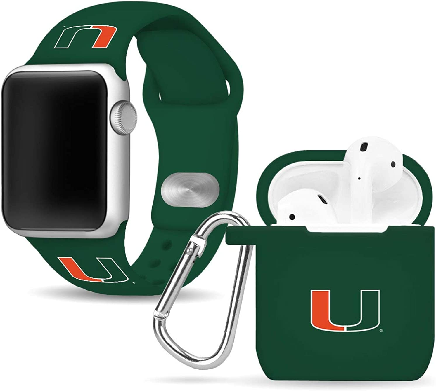 Miami Hurricanes Silicone Watch Band & Case Cover Combo Package Compatible with Apple Watch and AirPods Battery Case
