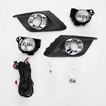 For 2014 2015 2016 Mazda 3 Clear Lens Fog Driving Light Kit w//Bezel Switch Bulbs