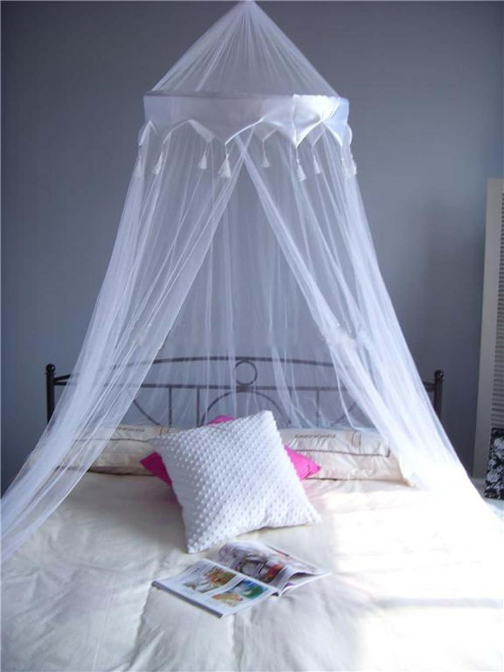 A ExpressR White Mosquito Net Bed Canopy Up To King Size 100 Polyester 10 Meter Round Amazoncouk Kitchen Home