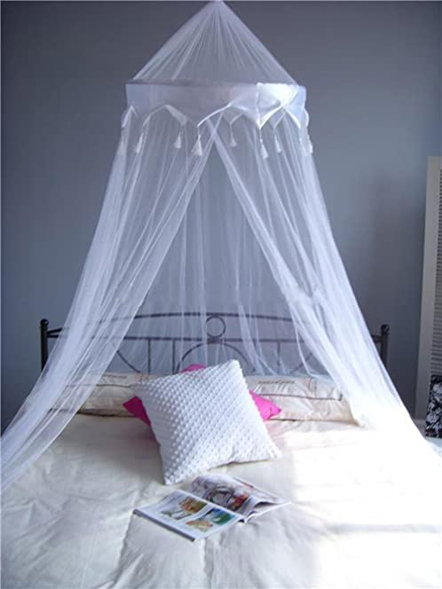 A ExpressR White Mosquito Net Bed Canopy Up To King Size 100 Polyester
