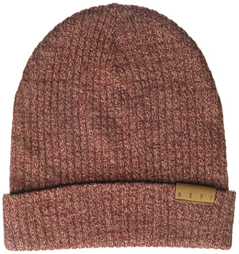 Maroon Reversible Knit Beanie (NEFF Men's Merino Knit Fold Beanie, Maroon/Twill, One Size)