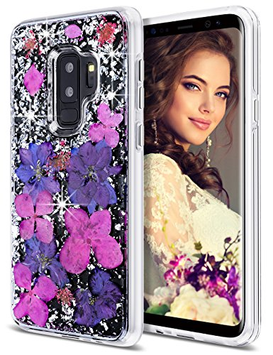 Coolden Galaxy S9 Plus Case, Luxury Glitter Case with Dried Natural Flower Cute Girly Shockproof 2-Layers Solid PC Cover + Flexible TPU Frame Compatible with Samsung Galaxy S9+ Plus, Purple Flower