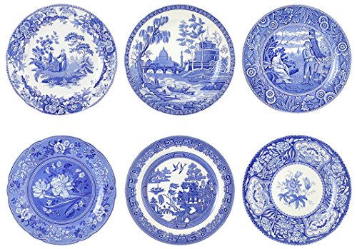 (Spode Blue Room Georgian Plates, Set of 6 Assorted Motifs)