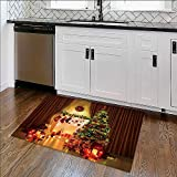 Printed floor mat Christmas Tree in Room,Xmas Home Night Interior,Fireplace Lights Decoration,Hanging Socks for Home and Office W39'' x H20''