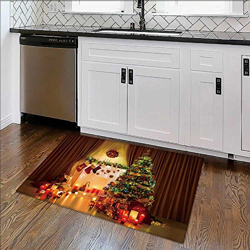 Printed floor mat Christmas Tree in Room,Xmas Home Night Interior,Fireplace Lights Decoration,Hanging Socks for Home and Office W39'' x H20'' by Auraise Home
