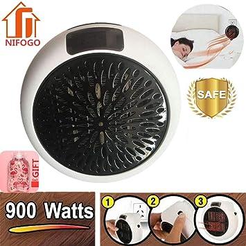Nifogo Mini Heater - Estufa Eléctrica Portatil 900 W con Termostato Ajustable Tiempo Programable de 12 Horas Cierre Automático, para Hogar Oficina Baño ...