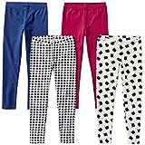 Spotted Zebra Little Girls' 4-Pack Leggings, Meow, Small (6-7)