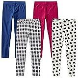 Spotted Zebra Little Girls\ 4-Pack Leggings, Meow, X-Small (4-5)