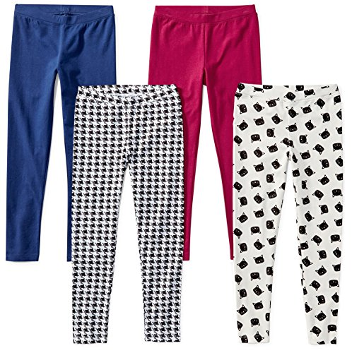 Spotted Zebra Little Girls' 4-Pack Leggings, Meow, Small (6-7) -
