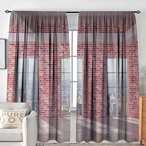 "Sillgt Modern Waterproof Window Curtain Red Brick Wall Loft Interior with Windows to City Urban Contemporary Design Print Energy Efficient, Room Darkening W 72"" XL 96"" Multicolor"