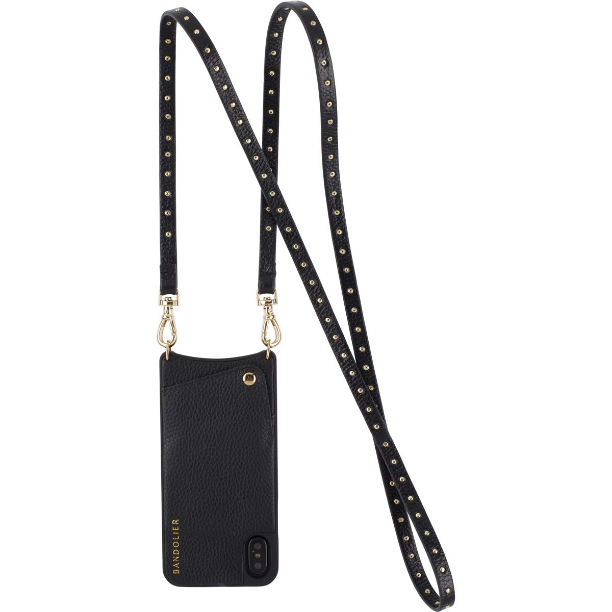 Bandolier [Nicole] Crossbody Phone Case and Wallet - Compatible with iPhone 8/7 / 6 - Black Leather with Gold Accent by Bandolier (Image #4)