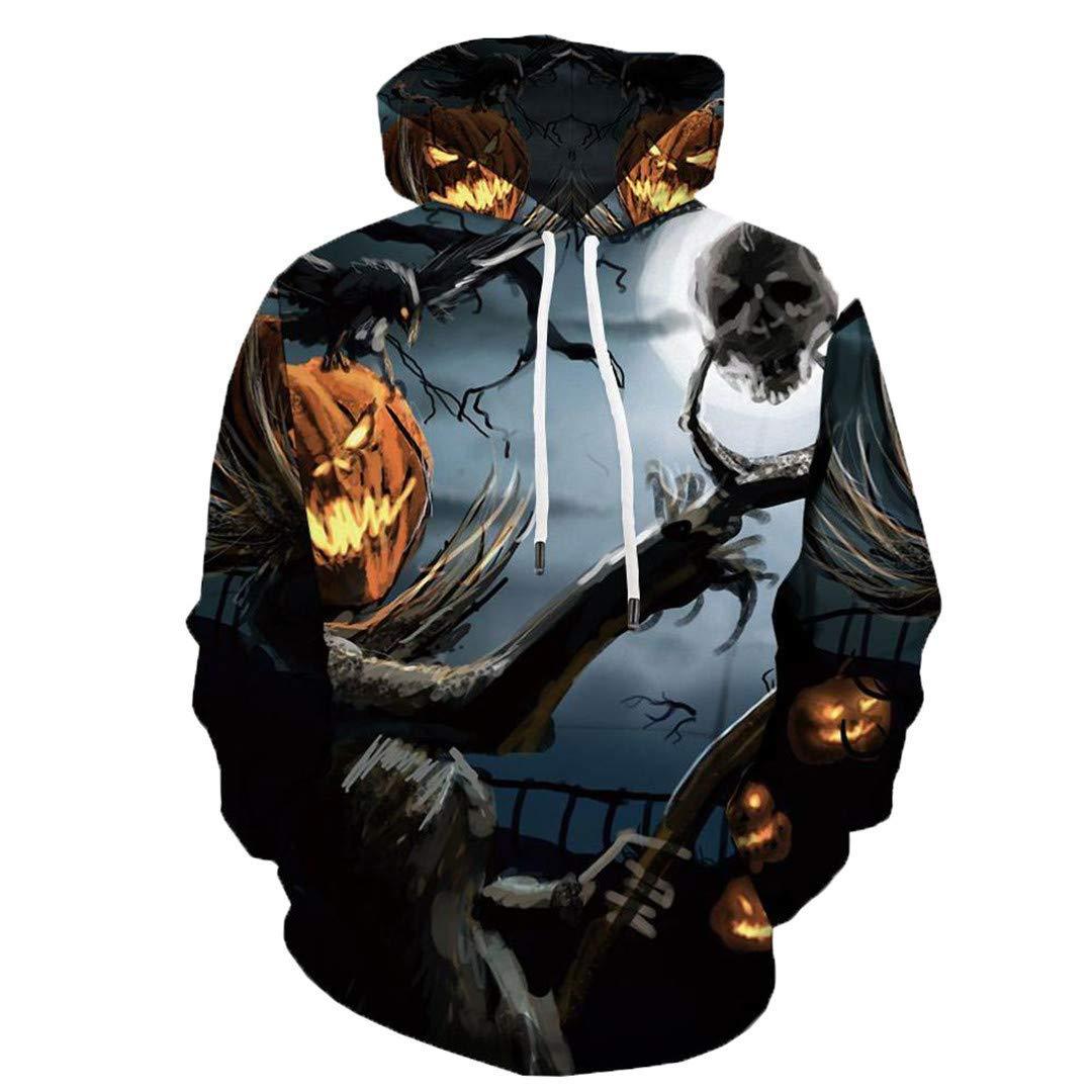 Men Women Casual Skull Cool 3D Print Hoodie Pumpkin Party Print Sweatshirt Hood Autumn Winter Outdoor Sport Outwear Tops 3X by navely (Image #1)