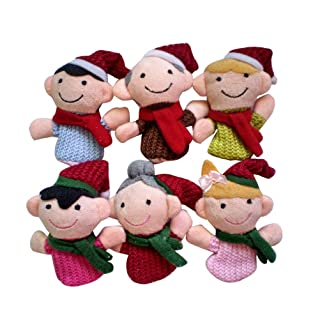 Toyvian 6PCS Christmas Finger Puppets Educational Finger Dolls Famiglia Interactive Toy per Bambini