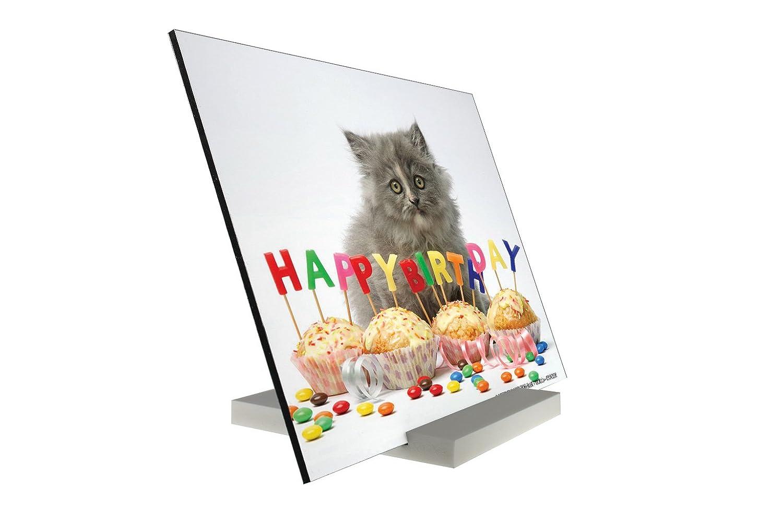 Soporte impresión del arte Fotografias Tarjeta Cumpleaños Gatos Cachorro Feliz cumpleaños Letrero: Amazon.es: Hogar