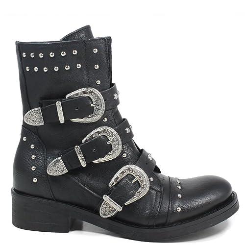 Personal Shoepper Stivaletti Anfibi Biker Boots Donna Fibbie Borchie 0276 Nero Vera Pelle Made in Italy