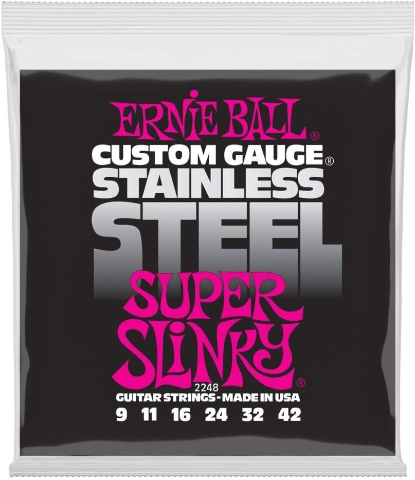 Cuerdas Ernie Ball Super Slinky de acero inoxidable para guitarra eléctrica entorchada - calibre 9-42