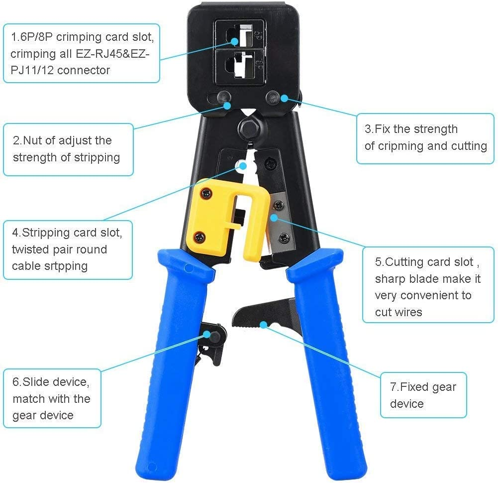Crimp Tool Rj45 Rj45 Coax Plug Crimping Cat5 Cat6 Cable Tester Repair Wire Stripping Cutter Rj11 Wire Data Detector Stripper Gaoominy Network Tool Kit Set