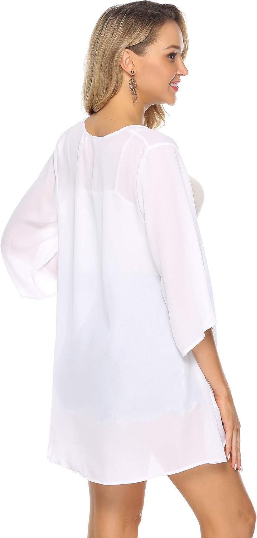 Aibrou Cardigan di Chiffon Donna Pizzo Kimono Estivo Copricostume de Mare Elegante Casual Cover Up per Mare Party Vacanze