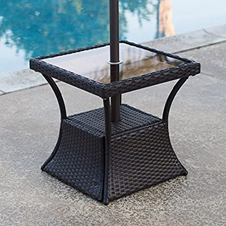 Patio Square Side Table With Glass Top And Umbrella Hole Made With All Weather Wicker And Steel In Hammered Matte Black 20L X 20W X 20H In