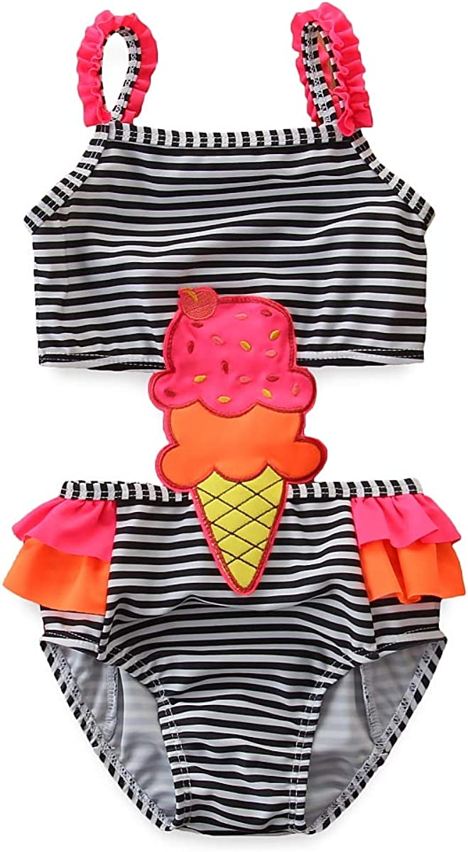 Toddler Kids Baby Girl Ice Cream Printed Swimsuit Ruffle Lace Sleeveless One Piece Bathing Suit Swimwear Outfit