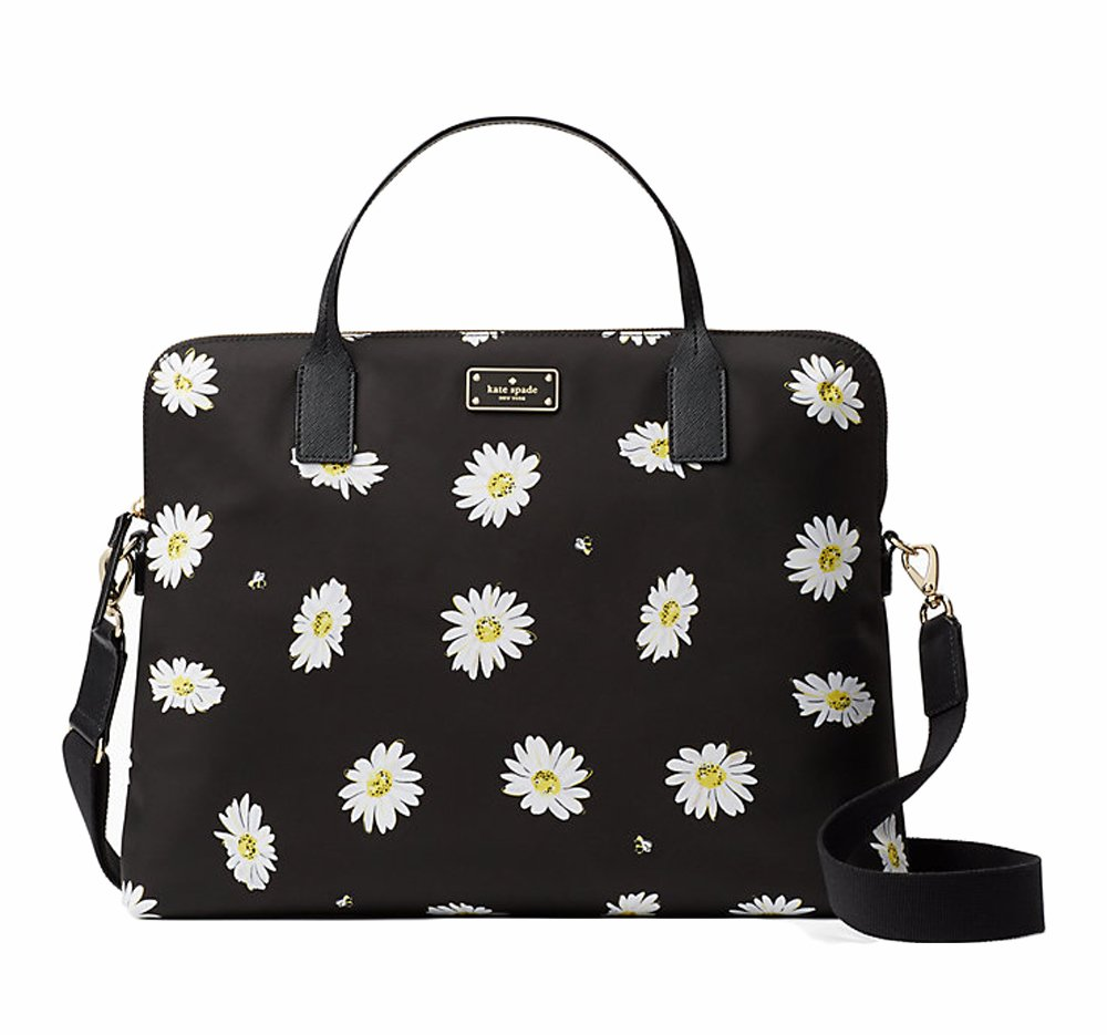 Kate Spade Blake Avenue Printed Daveney Crossbody Computer Shoulder Bag Purse Handbag, Falling Daisy Black by Kate Spade New York