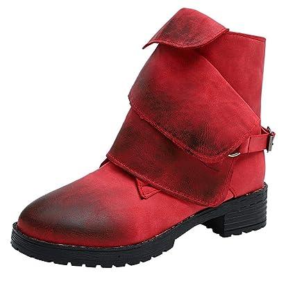 Qiusa Tobillo Botas de Invierno Zapatos de Mujer, Caballo de Montar Medio Tobillo Bloque Alto