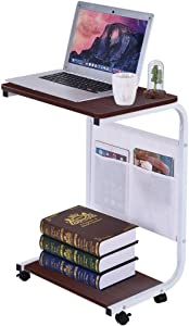 Hohaski Coffee Table Computer Table, Household Removable Computer Desk Modern Simple Style PC Laptop Study Table Office Desk Workstation for Home Office wiht Two Hanging Bags(shipfrom US) (Red)