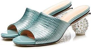 MENGLTX Talon Aiguille Talons Hauts Sandales Rouge Grande Taille D'Été Nouvelles Chaussures Femme Peep Toe Mules Shallow Chaussures Élégant Pantoufles Femmes en Cuir Véritable