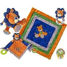 Mary Meyer Baby Boy Delight: Levi Lion Cozy and Activity Blankets, Toy, Rattle - Blue/Orange Newborn Set of 4 Favorites with Bonus Animals Sticker