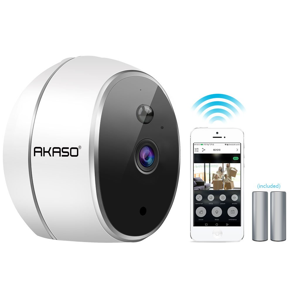 AKASO WIFI Security Camera, HD 720P Rechargeable Wireless IP Camera,Two-Way Audio,Night Vision,PIR Motion Detection, Indoor/Office/Home Surveillance/Baby Monitor, Powered by Batteries (Hawkeye 1)