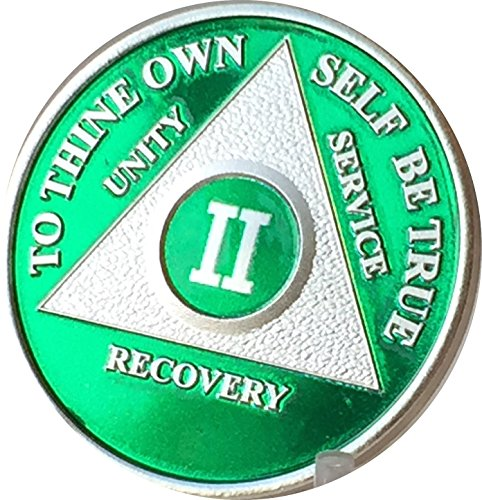 2 Year Green & Silver Plated AA Alcoholics Anonymous Medallion Sobriety Chip & Vinyl Protector