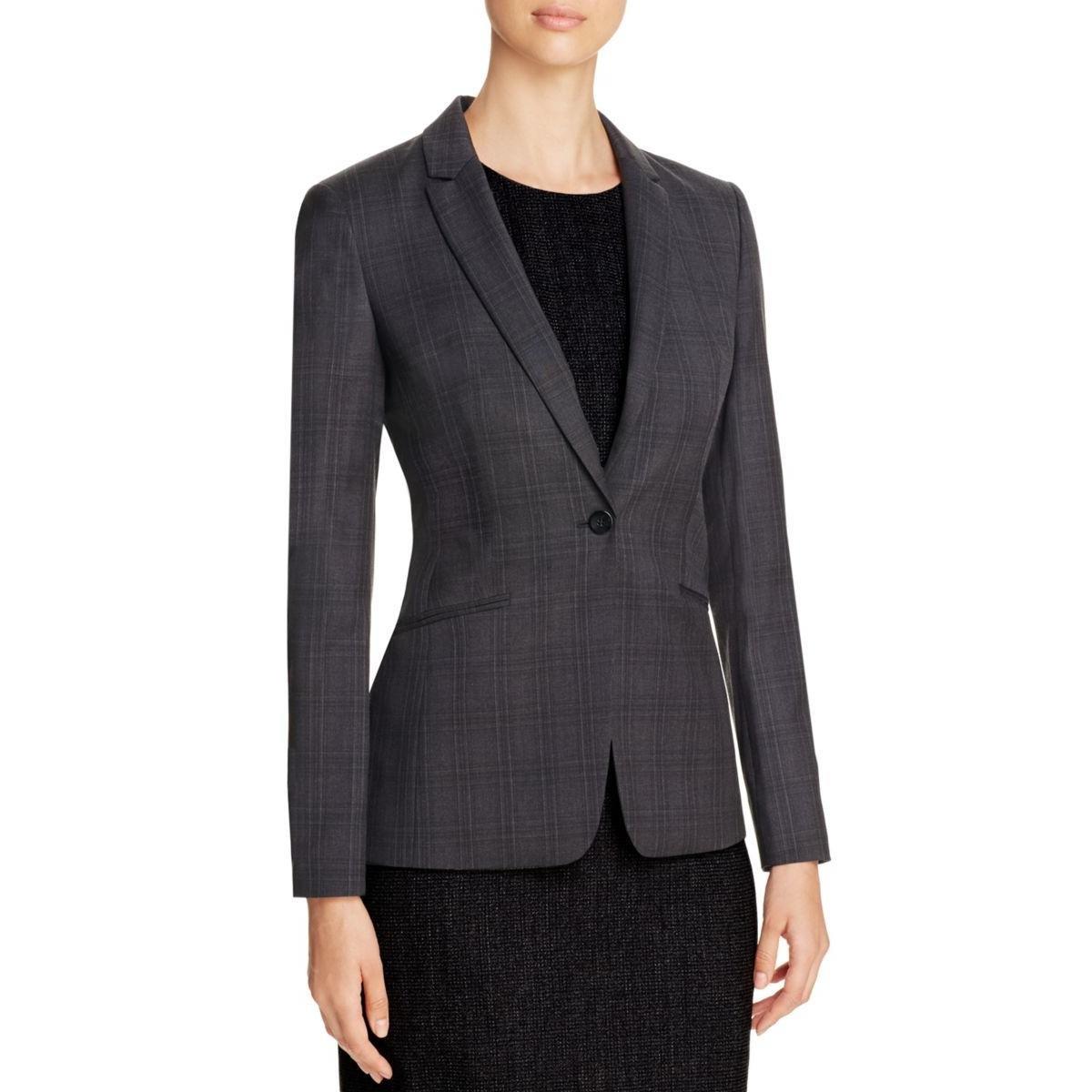 BOSS Hugo Boss Womens Jabina2 Window Pane Long Sleeves One-Button Blazer Gray 10
