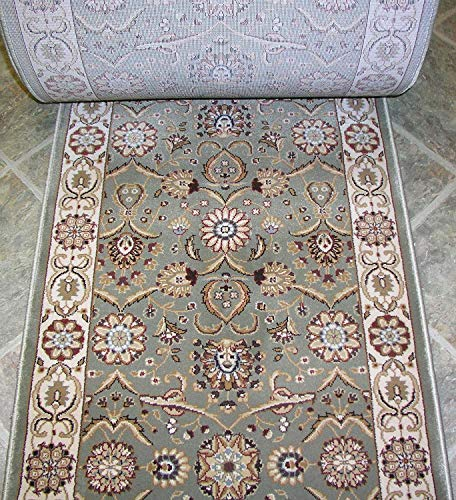 """Rug Depot 157554 Traditional Oriental Hall and Stair Runner - 26"""" Wide Hallway Rug Runner - Custom Sizing - Sage Green Background - Choose Your Length - 26"""" x 10 feet"""