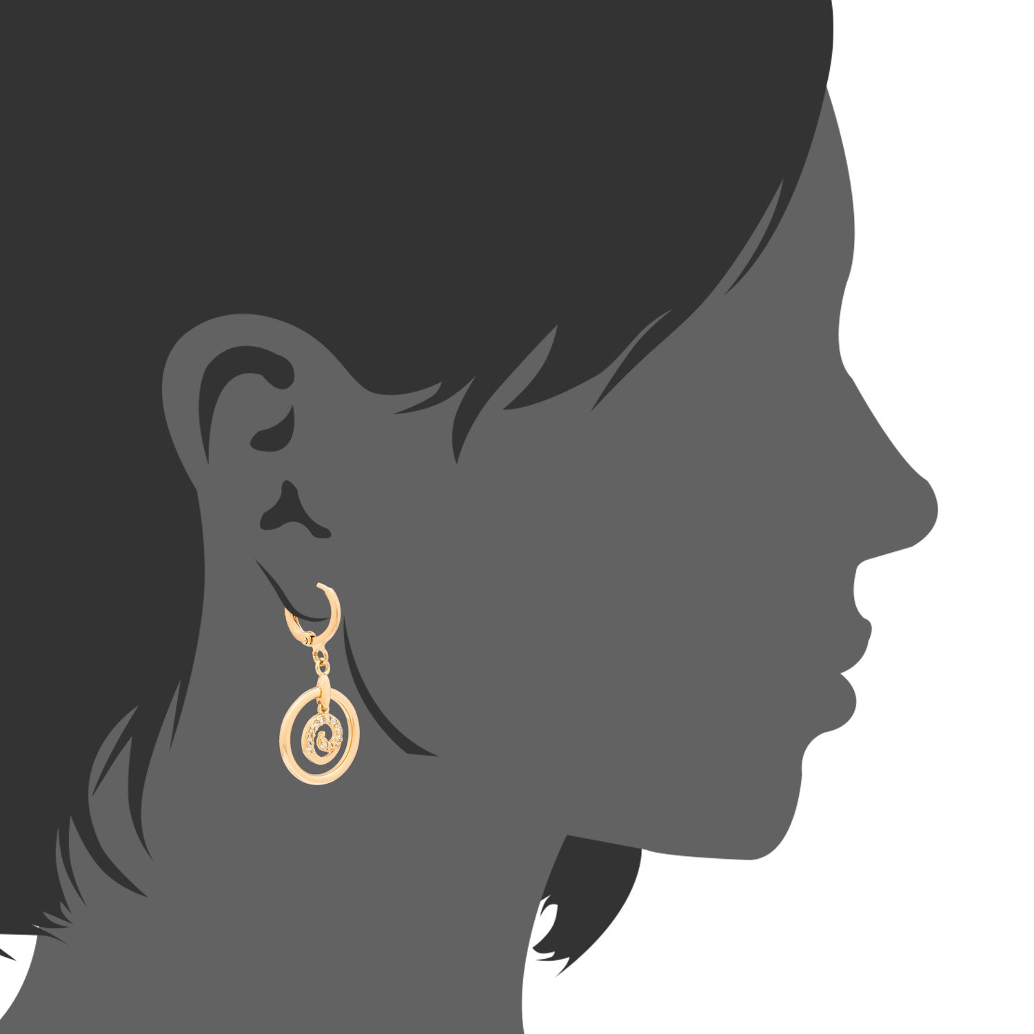 Romantic Time Dancing Spiral Round Totem 18k Rose Gold Plated Diamond Faceted Dangle Earrings