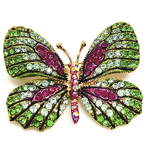- QTMY Colorful Rhinestone Butterfly Brooches Pin (8)
